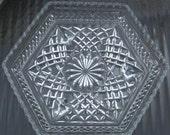 Hexagonal Cut Glass Luncheon Plates, set of 5