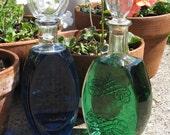Vintage Glass Liquor Bottles, set of 2