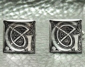 Silver Leaf Initial Celtic Cufflinks - A