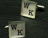 Silver Leaf Initials Monogram - Personalized Cufflinks - W