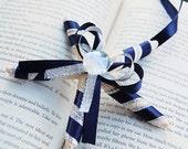 Navy blue metallic silver ribbon wrapped starfish ornament decoration