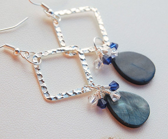 Silver diamond and blue pearl earrings