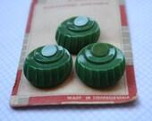 Vintage green czech glass buttons on card