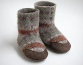 Lambswool Slippers from Upcycled Sweater, sizes 6-12, 12-18 months, Elves
