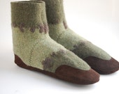 Wool Slippers from Upcycled Sweater, Women Size 8, How Does Your Garden Grow, SALE