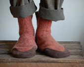 Mens Wool Slippers, Eco Friendly and Handmade, size 12, Cinnamon and Cider