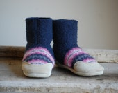 Toddler Boots, Felted Wool & Leather, size 6-18 months, Run to Catch Up