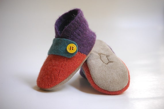 Mixing Paint...Lambswool Slippers from Upcycled Sweater, Sizes newborn - 4 years