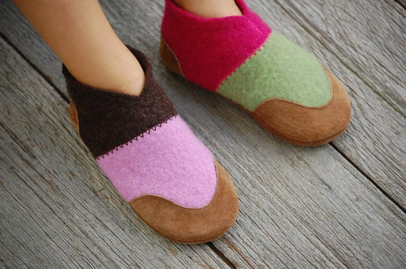 Kids Wool Slippers, Leather Soles, Eco Friendly, size 11.5, Dizzy