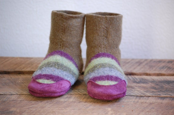 Wool Slippers, Eco Friendly, Leather & Wool, Size 7.5, Grapevine Swing