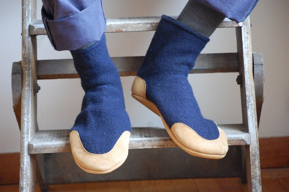 Mens Wool Slipper Socks, Handmade & Eco friendly, men size 12 wide, After Midnight