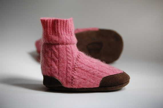 SALE Wooden Barbie ... Cashmere Slippers from Upcycled Sweater, Size 12-18 months