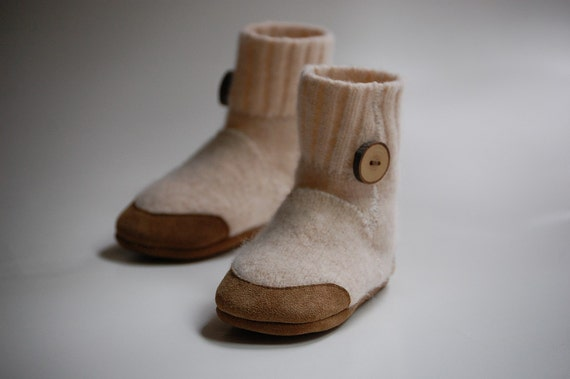 Snow Fort... Lambswool Slippers from Upcycled Sweater, Sizes 1- 4 years