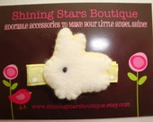 Hair Accessories - Hair Clips - Easter Holiday Light Yellow And Light Ivory Felt Baby Bunny Boutique Hair Clippie