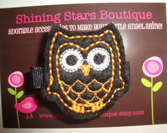 Felt Hair Clips - Girls Hair Accessories - Black And Orange Embroidered Boutique Felt Halloween Owl Hair Clippie
