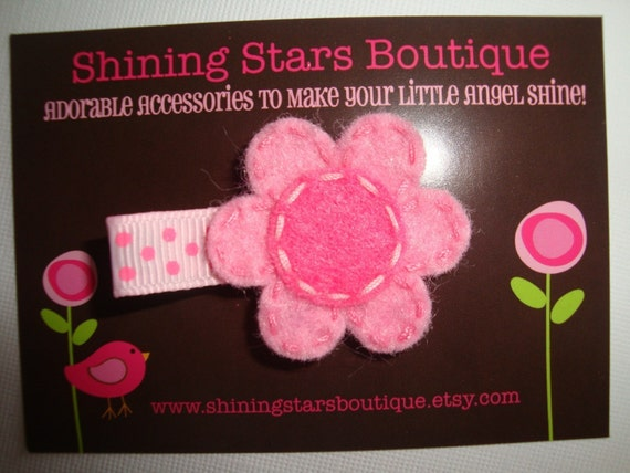 Light Pink And Hot Pink Polka Dots Stitched Felt Flower Hair Clippie