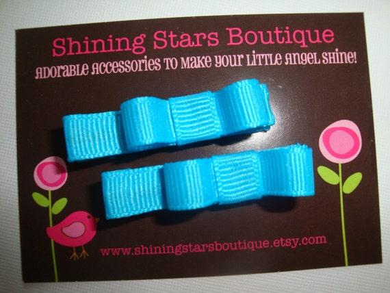 Island Blue Mini Bow Hair Clippies Set