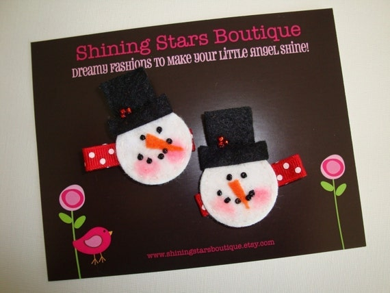 Felt Hair Clips - Girls Hair Accessories - Christmas Holiday Felt 'Winter Snowman With Top Hat' Boutique Hair Clippies Set