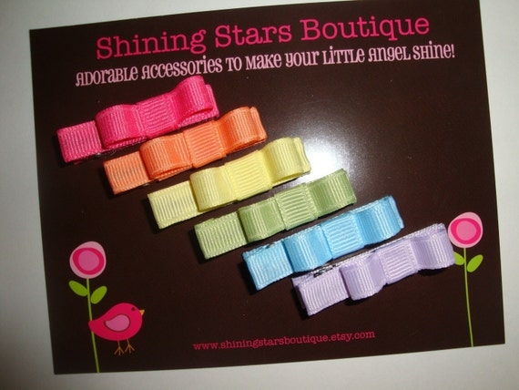 Hair Accessories - Baby Bows - Spring Rainbow Fun Solids Mini Bow 'Tuxedo Style' Hair Clippies Collection