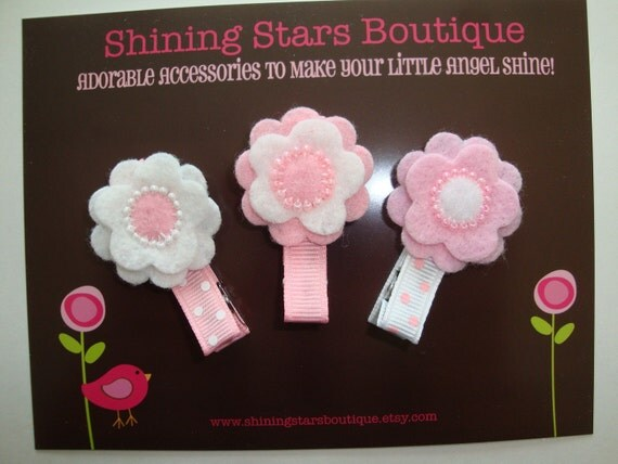 Girls Hair Accessories - Felt Flowers - Light Pink And White Beaded Felt Flowers Boutique Hair Clippies Trio