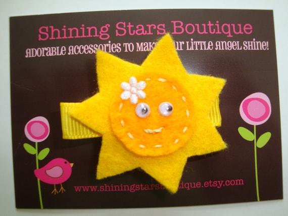 Hair Accessories - Felt Hair Clips - Small Golden Yellow Sun Boutique Felt Hair Clippie For Girls
