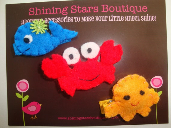 Felt Hair Clips - Hair Accessories - Ocean Or Under The Sea 'Blue Whale, Red Crab, And Yellow/Orange Octopus' Hair Clippies Trio