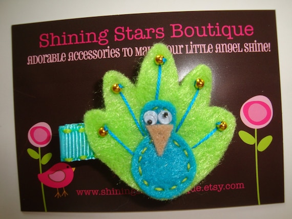 Felt Hair Clips - Hair Accessories - Bright Turquoise Blue And Lime Green Beaded Felt Peacock Boutique Animal Hair Clippie