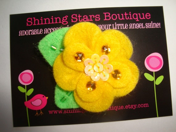 Hair Accessories - Felt Flowers - Bright Yellow Boutique Felt Flower With Rhinestone Bling and Sequins For Girls