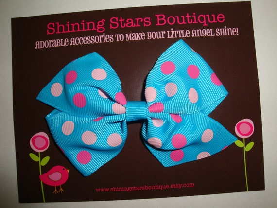 Large Turquoise Blue With Light Pink And Hot Pink Polka Dots Pinwheel Boutique Hairbow