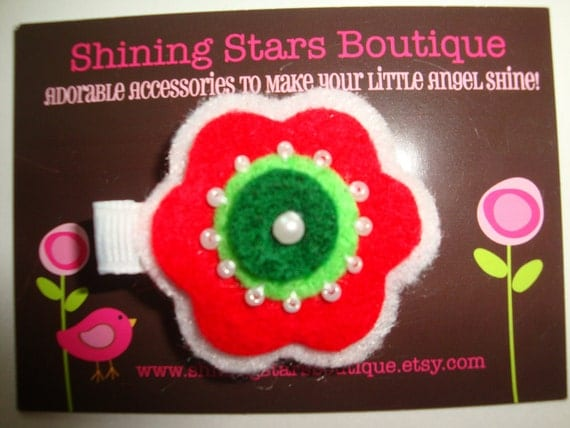Felt Hair Clip - Baby Girl Hair Accessories - Christmas White, Red, And Dark Green Felt Flower Boutique Hair Clippie With A Beaded Center