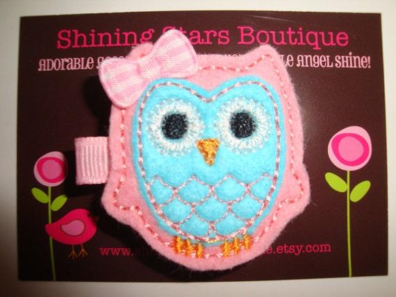 Hair Accessories - Felt Hair Clips - Light Pink And Aqua Blue Embroidered Felt Owl Hair Clippie For Girls - Cute Headband Accessory