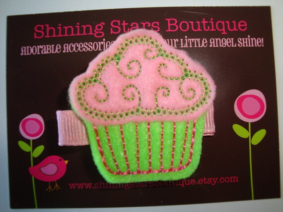 Hair Clip - Hair Accessories - Light Pink And Lime Green Embroidered Felt 'Swirly' Cupcake Clippie - Sweet Shoppe Or Candy Themed Party