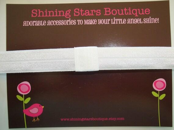 Baby Headbands - White Interchangeable Boutique Elastic Headband For Girls