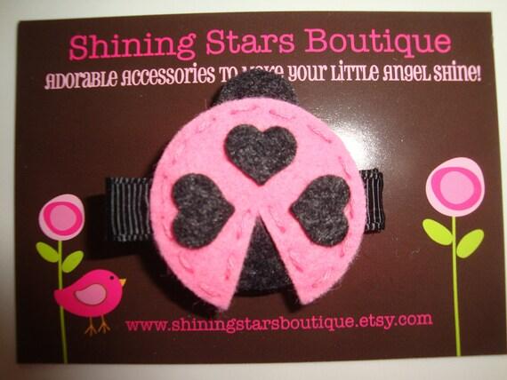 Felt Hair Clip - Girls Hair Accessories - Pink And Black Felt Ladybug With Heart Shaped Spots Hair Clippie - Garden Bugs