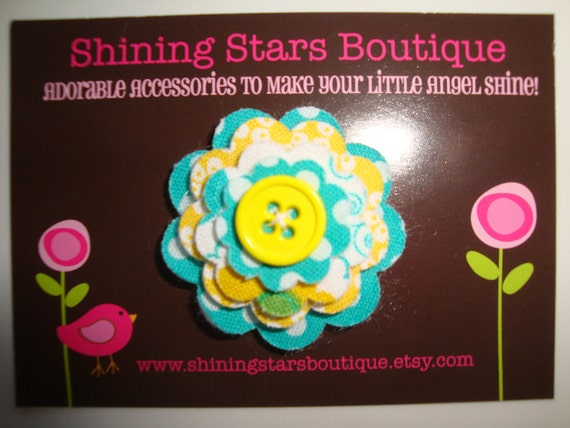 Girls Hair Accessories - Itty Bitty Teal Blue/Green And Yellow Layered Felt and Fabric Flower Snap Clip
