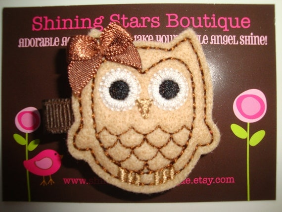 Girls Hair Accessories - Felt Hair Clips - Light Brown/Tan And Dark Brown Embroidered Boutique Felt Fall Owl Hair Clippie For Girls