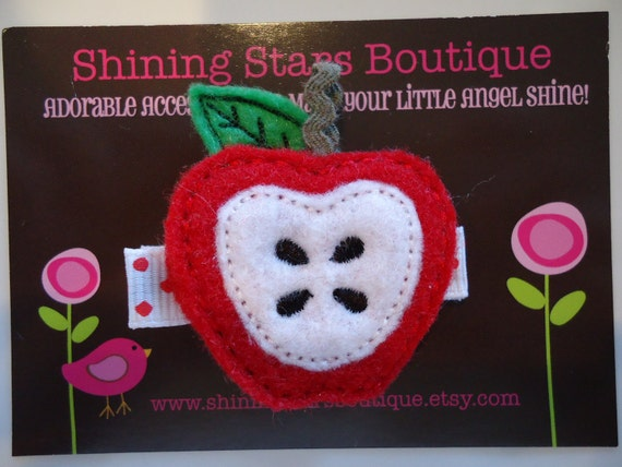 Girls Hair Accessories - Felt Hair Clips - Embroidered Boutique Felt Red Apple Fruit Hair Clippie For Girls - Back To School Clippies