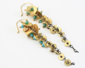 Long Gold and Turquoise Bell Flower Cascade / botanical, organic, special occasion , resort ,