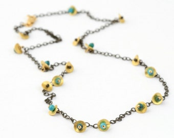 Short Tiny Petals Necklace with Turquoise / delicate, bridal, pearl, gold, black and gold, botanical, organic.