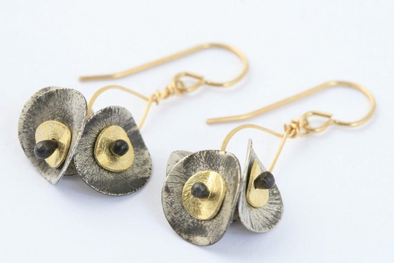 Drop Earrings with Petals Black, Silver and Gold / gold, oxidized, black and gold, drop earrings , mixed metal