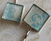 Pale Blue and Cream Hair Pins