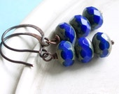 Blue Earrings - Electric - Czech Glass Rondelle and Copper Earrings