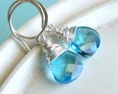 Briolette Earrings - Sterling Silver and Blue Teardrop - Blue Skies