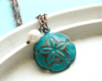 At the Shore - Patina Sand Dollar Necklace