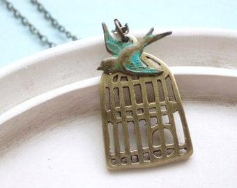 Bird Necklace - Handmade Bird Cage with Verdigris Sparrow - Free as a Bird Necklace