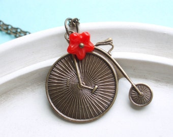 Bicycle Necklace - Bike Jewelry - Bicicletta - Antiqued Brass with Red Flower