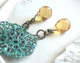 Verdigris Earrings - Sun and Sea