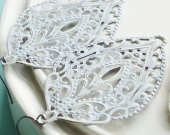 Large Statement Earrings - White Lace