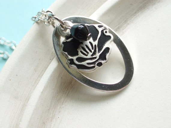 Silver Necklace - Black Rose - Mod Silver Flower
