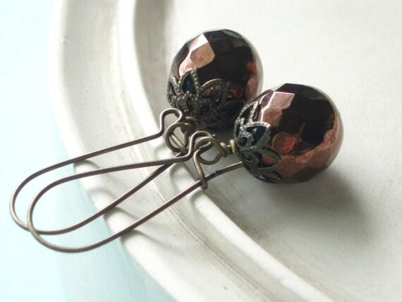 Chocolate Drops - Czech Glass Earrings